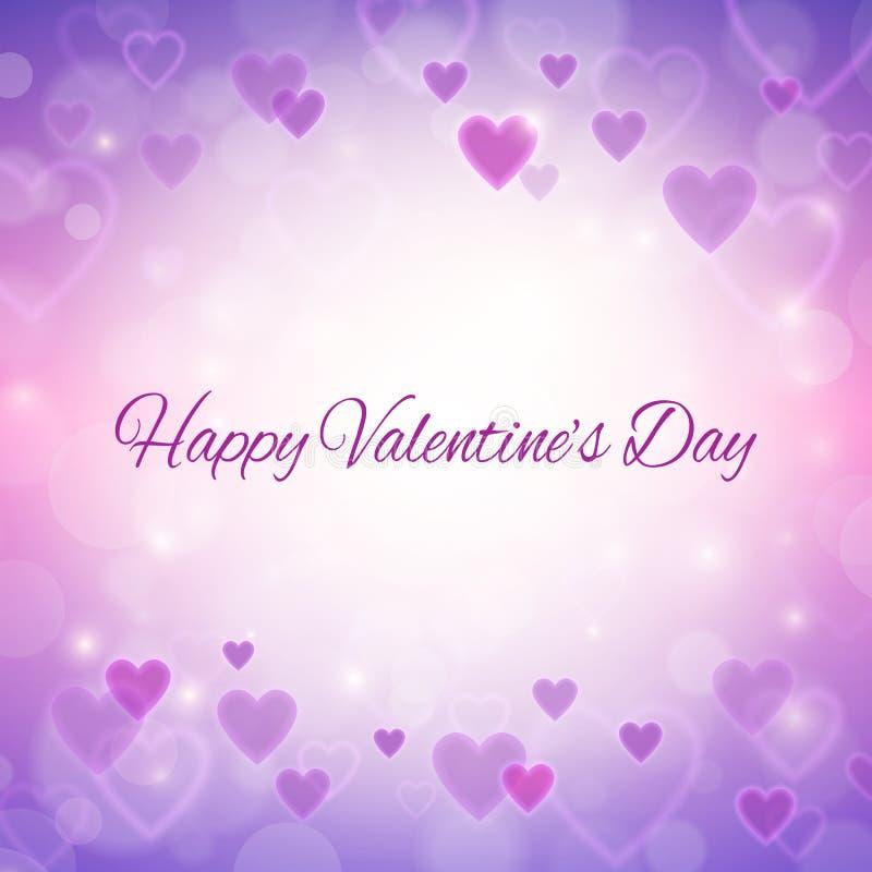 Carte de voeux heureuse de jour de valentines avec des coeurs et des lumières illustration stock