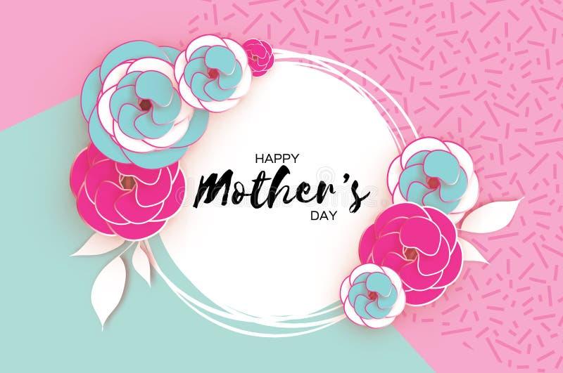 Carte de voeux heureuse de jour du ` s de mère Fleur coupée rose de papier bleu Cadre de cercle L'espace pour le texte illustration libre de droits