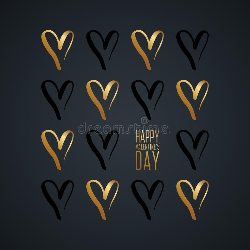 Carte de voeux heureuse de jour du ` s de Valentine avec de l'or tiré par la main et des symboles noirs de coeurs illustration de vecteur