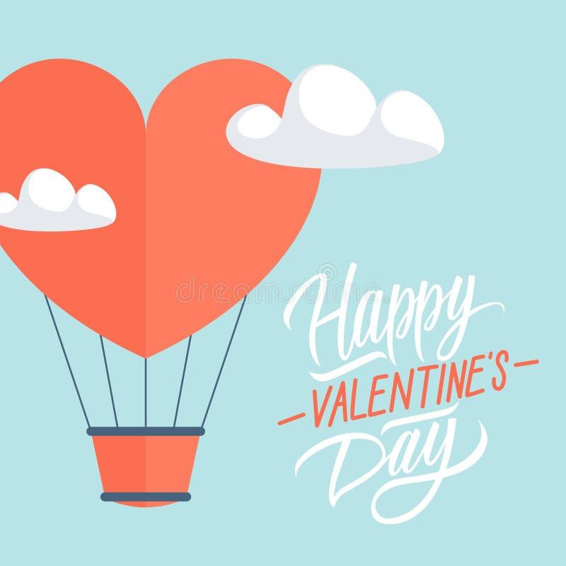 Carte de voeux heureuse de jour du ` s de Valentine avec le ballon à air chaud de forme de coeur illustration de vecteur