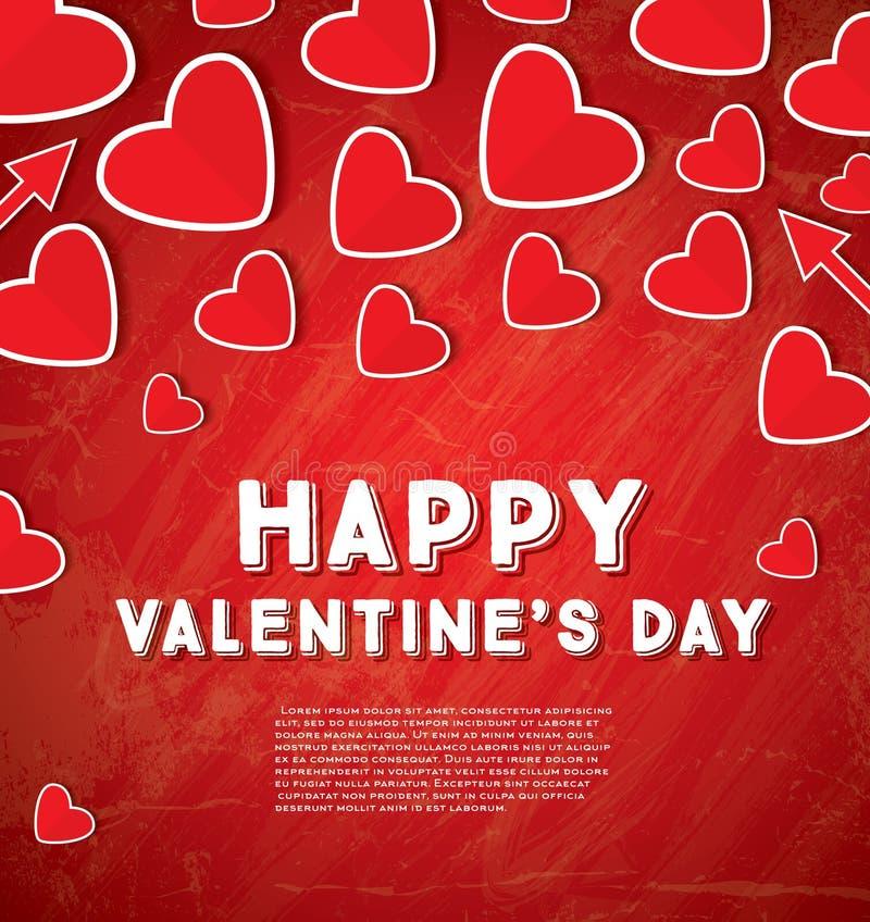 Carte de voeux heureuse de jour du ` s de Valentine avec les coeurs rouges illustration de vecteur