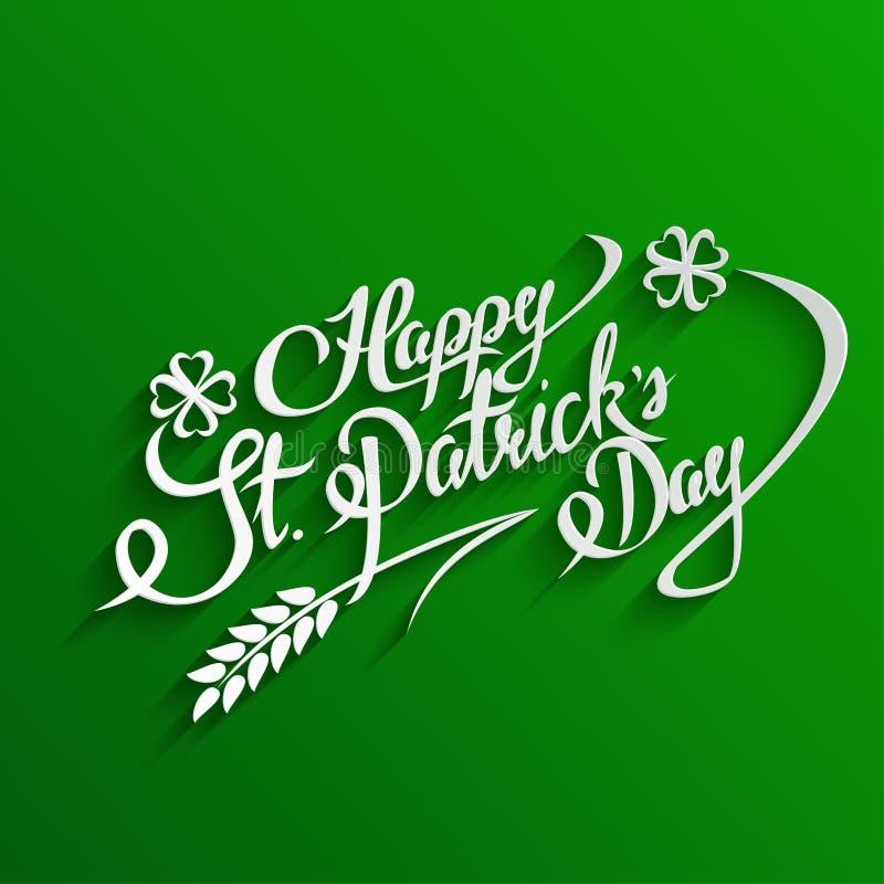 Carte de voeux heureuse de lettrage de jour de St Patricks illustration stock