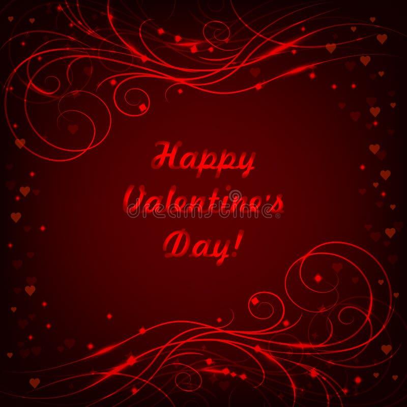 Carte de voeux heureuse de lettrage de jour de valentines avec le beau modèle brillant sur le fond rouge illustration libre de droits