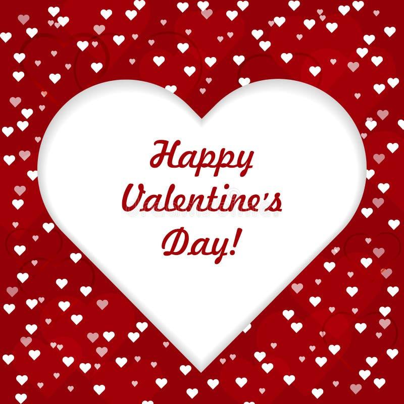 Carte de voeux heureuse de lettrage de jour de valentines avec le grand coeur blanc sur le fond rouge d'amour, illustration de ve illustration de vecteur