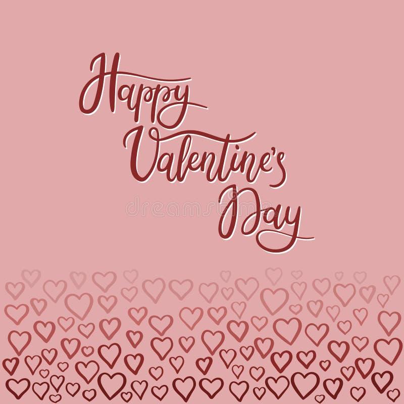 Carte de voeux heureuse de lettrage de main de jour du ` s de Valentine illustration de vecteur