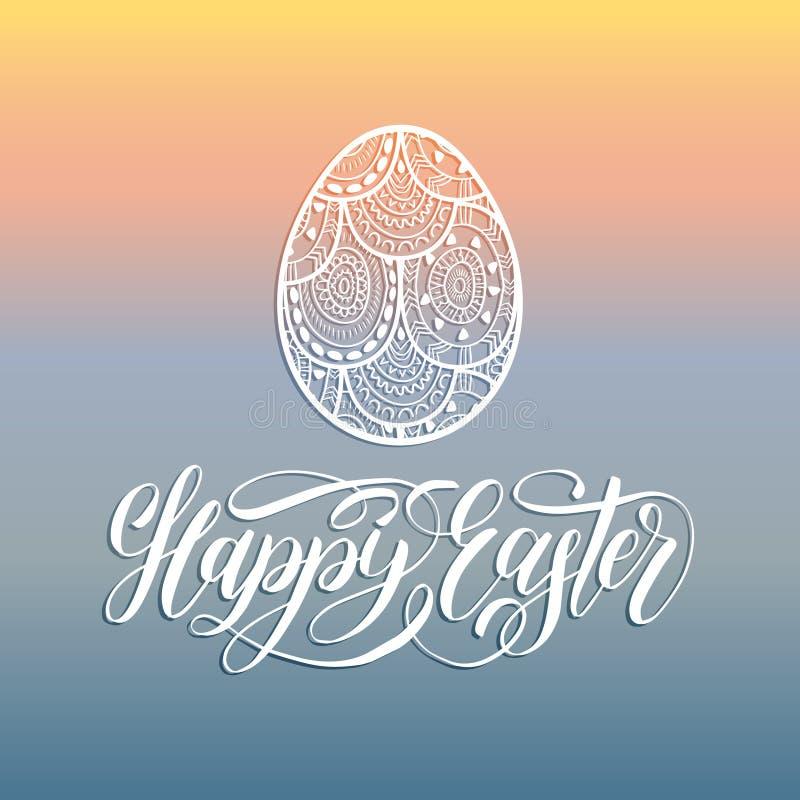 Carte de voeux heureuse de lettrage de main de Pâques avec l'oeuf Illustration de vecteur de vacances religieuses sur le fond ble illustration stock