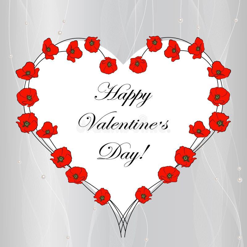 Carte de voeux heureuse de lettrage de Saint-Valentin illustration libre de droits