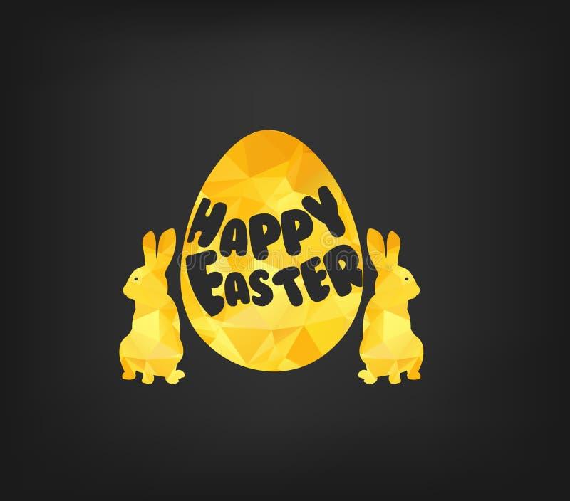 Carte de voeux heureuse de Pâques dans le bas poly style de triangle Polygone plat de conception d'oeuf et de lapin de pâques d'o illustration stock