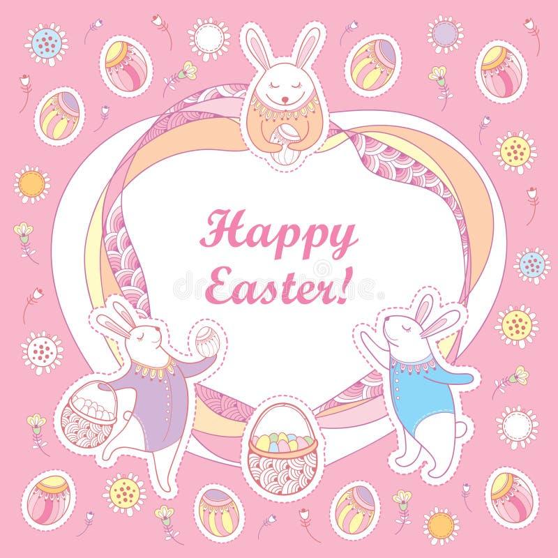 Carte de voeux heureuse de Pâques de vecteur Contournez les lapins de Pâques, l'oeuf, le panier et le cadre fleuri dans des coule illustration libre de droits