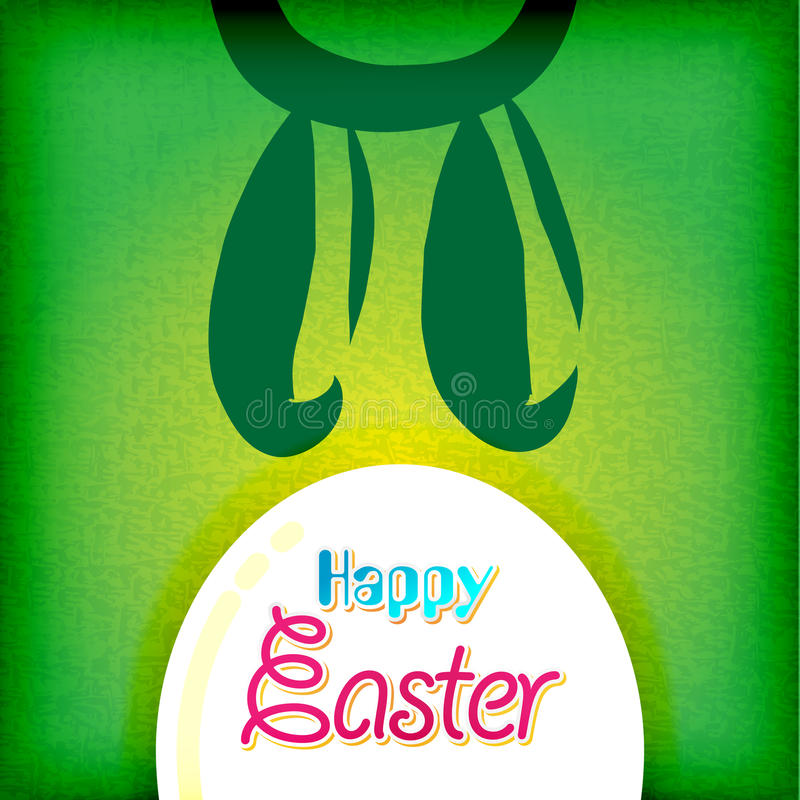 Carte de voeux heureuse de Pâques, oeufs de lapin illustration stock
