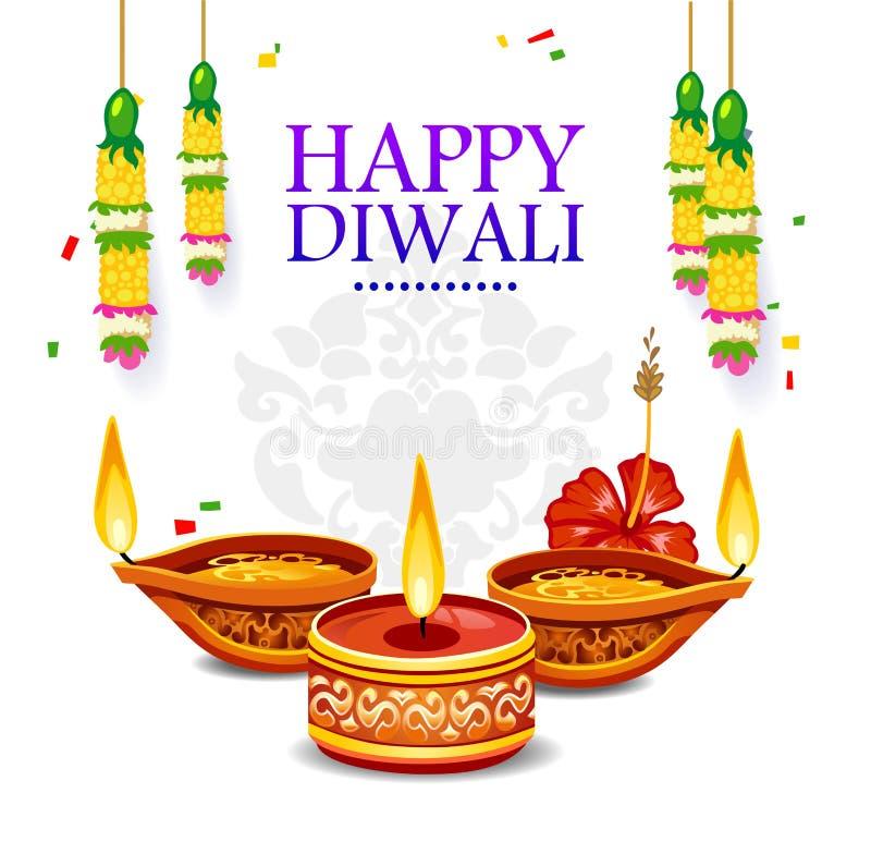 Carte de voeux heureuse de Diwali avec des éléments de décoration Illu de vecteur illustration stock
