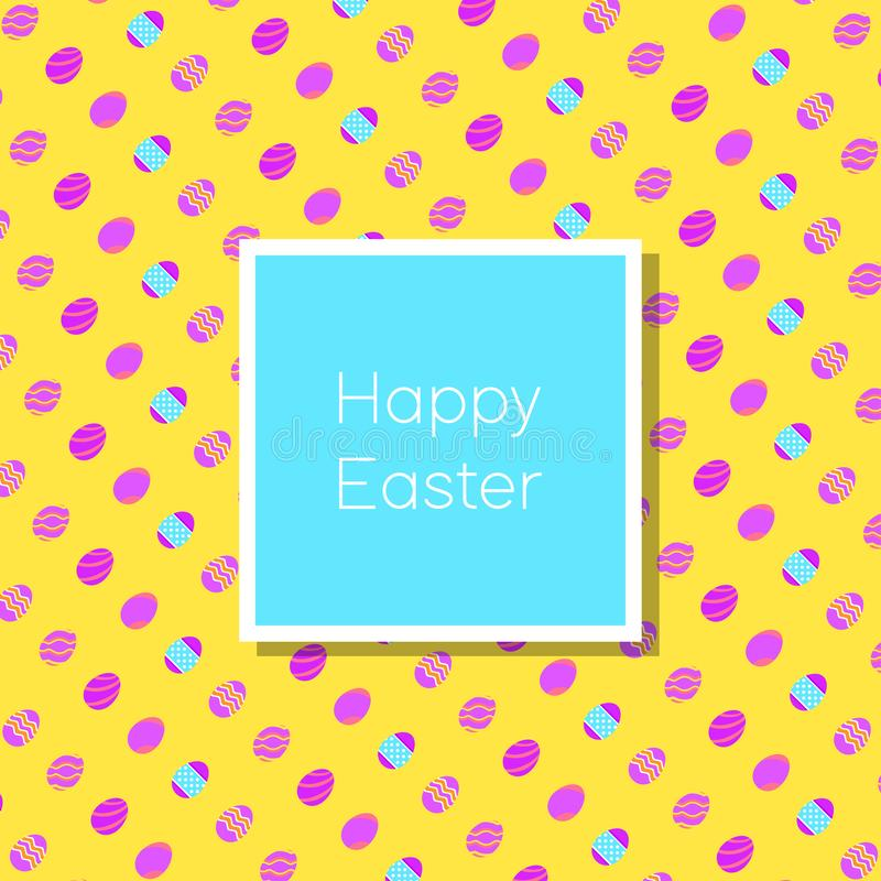 Carte de voeux heureuse drôle et colorée de Pâques avec le lapin, l'illustration de lapin, les oeufs, la bannière, le drapeau et  illustration stock