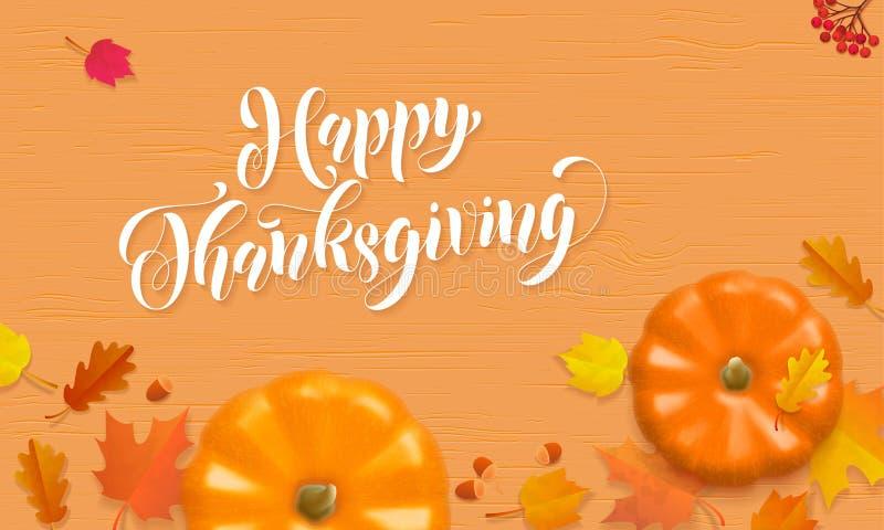 Carte de voeux heureuse de feuille d'érable de récolte de potiron de vecteur de chute d'automne de Thanksgiving illustration stock