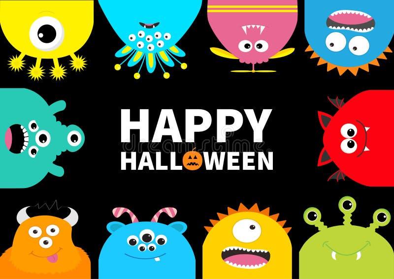 Carte de voeux heureuse de Halloween Cadre de monstre Potiron orange illustration stock