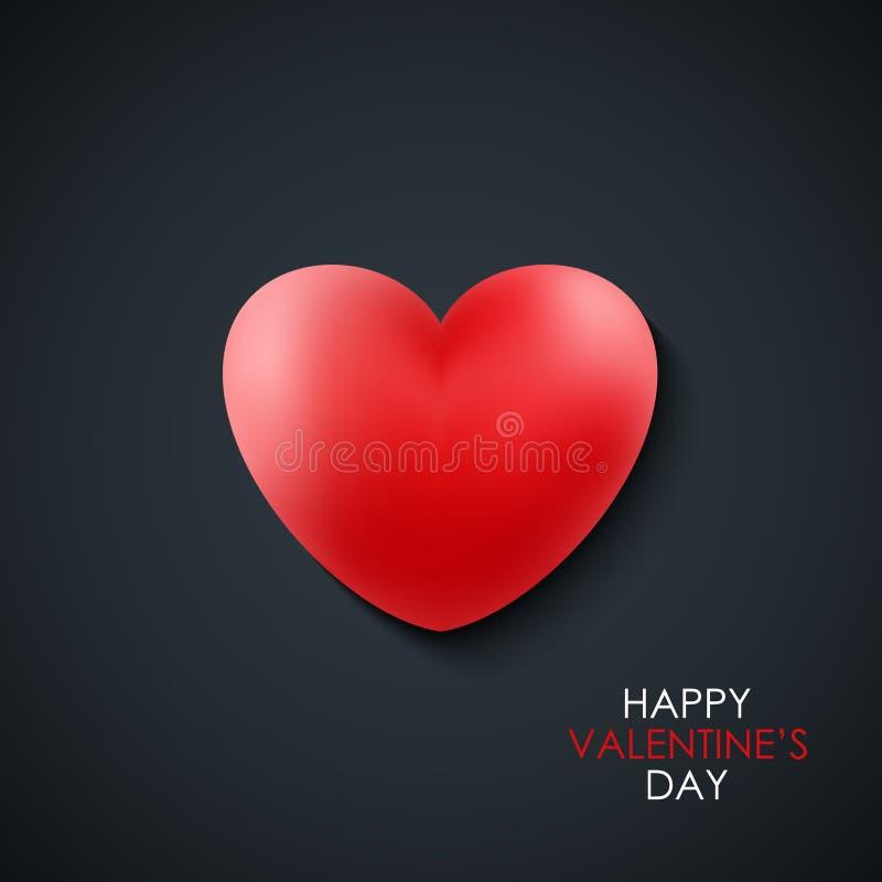 Carte de voeux heureuse de jour du ` s de Valentine avec le coeur réaliste rouge sur le fond noir 14 février salutations de vacan illustration de vecteur
