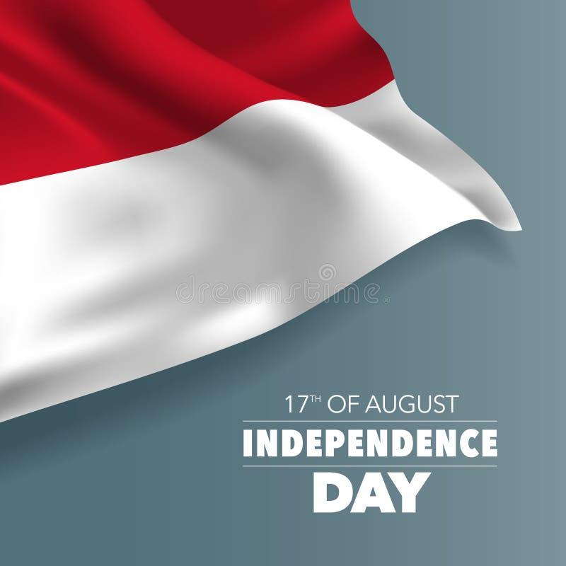 Carte de voeux heureuse de Jour de la Déclaration d'Indépendance de l'Indonésie, bannière, illustration de vecteur illustration libre de droits