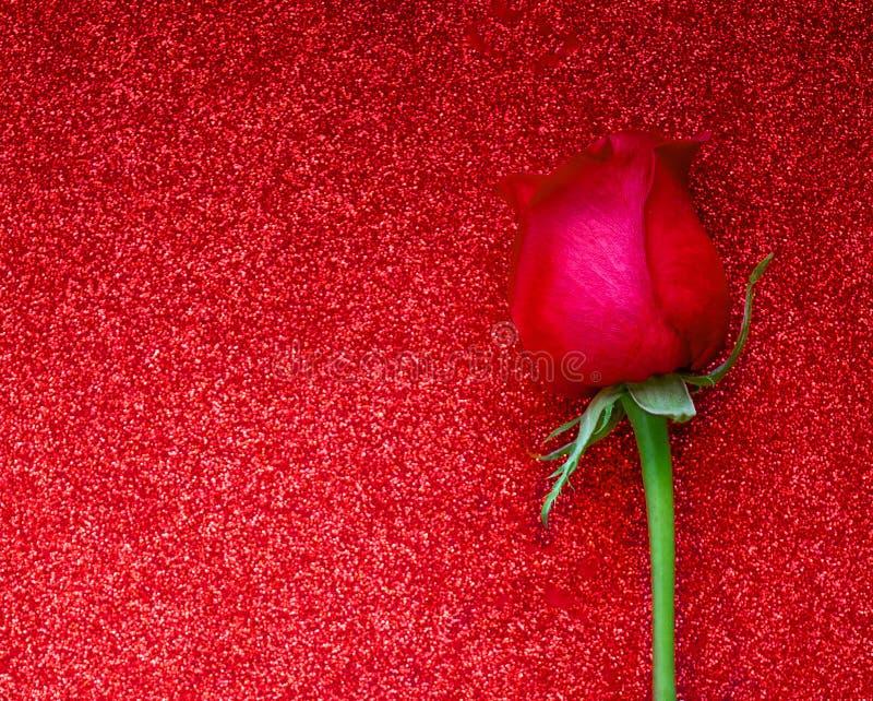 Carte de voeux heureuse de jour de valentines avec la rose rouge sur le fond éclatant avec le copyspace Configuration plate image libre de droits