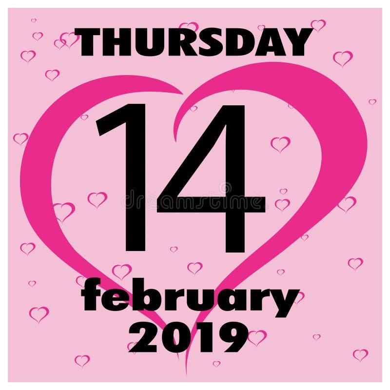 Carte de voeux heureuse de jour de Valentines 14 février Émotion, sentiment illustration stock