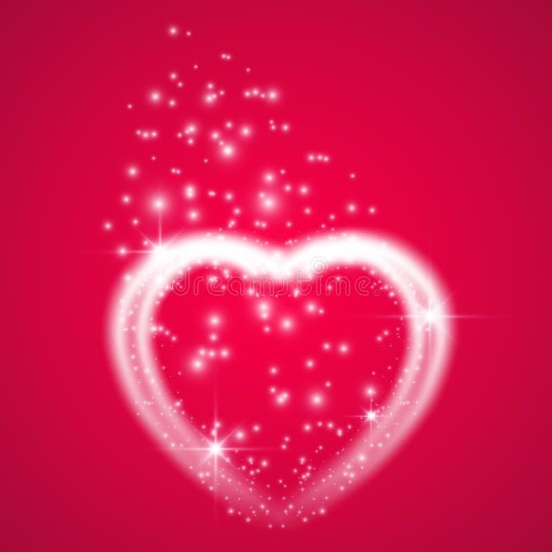 Carte de voeux heureuse de jour de Valentines Je t'aime 14 février Le fond de vacances avec des coeurs avec la flèche, lumière, s illustration libre de droits