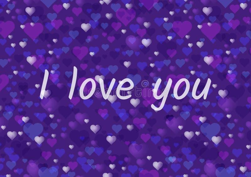 Carte de voeux heureuse de jour de valentines ou bannière horizontale Beaucoup de coeurs sur un fond ultra-violet moderne illustration de vecteur
