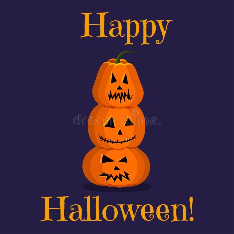 Carte de voeux heureuse mignonne de Halloween avec trois potirons fâchés oranges lumineux de caractères droits sur l'un l'autre illustration stock