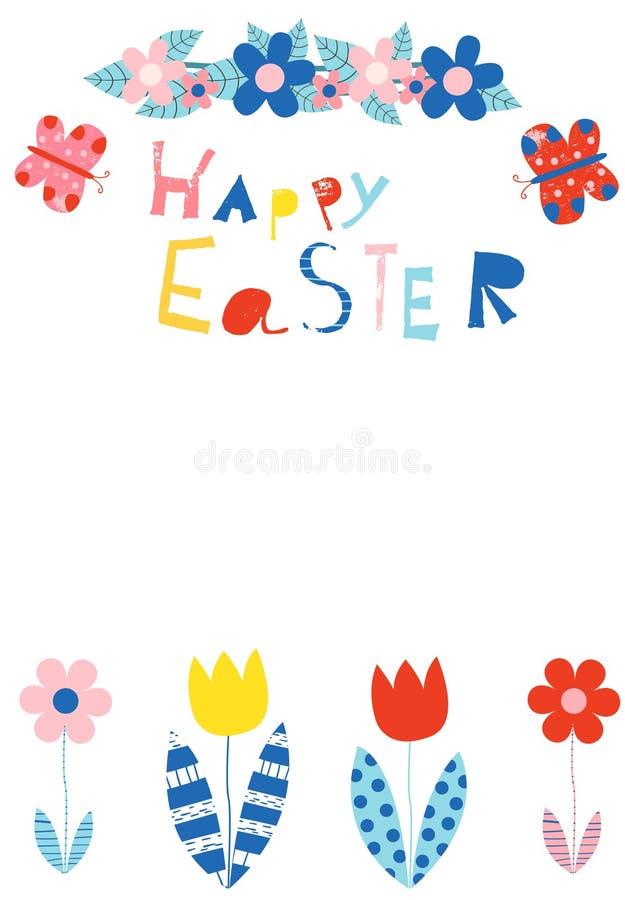 Carte de voeux heureuse de Pâques avec l'espace de copie illustration libre de droits