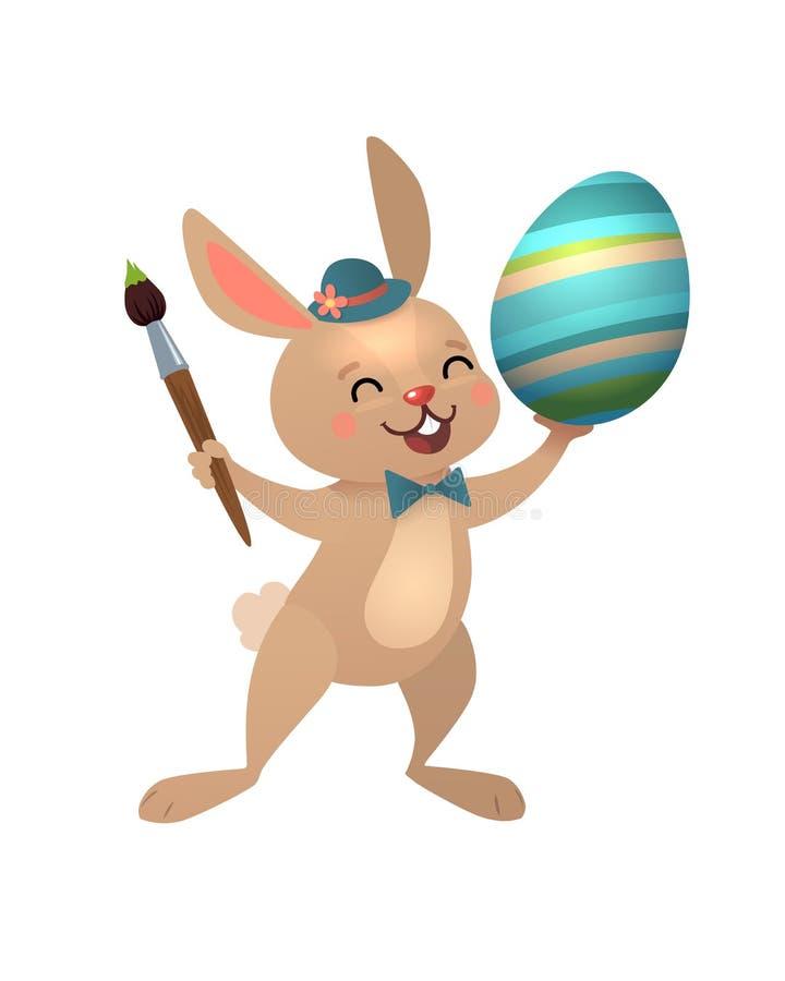 Carte de voeux heureuse de P?ques avec l'oeuf et le lapin Lapin mignon de Brown P?ques avec la brosse et l'oeuf color? Illustrati illustration libre de droits