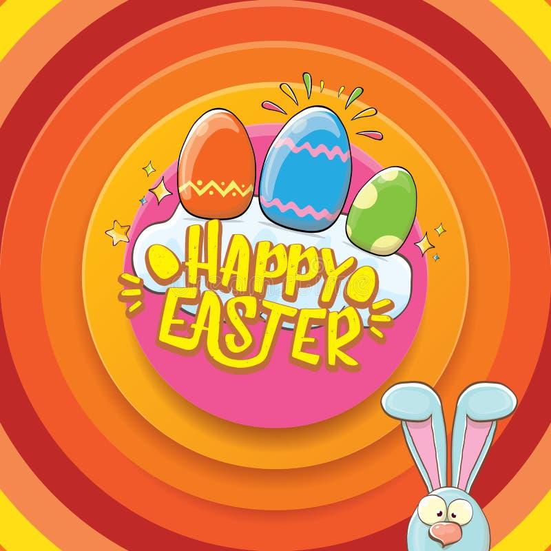 Carte de voeux heureuse de Pâques avec le lapin, le texte calligraphique, les nuages, l'arc-en-ciel et les oeufs de pâques de cou illustration stock