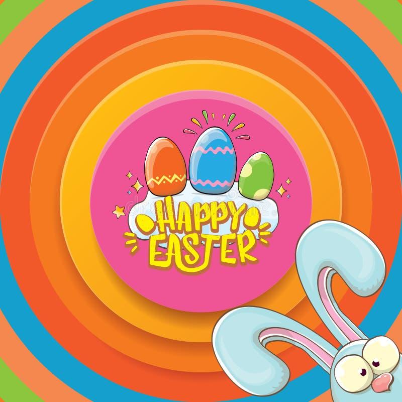 Carte de voeux heureuse de Pâques avec le lapin, le texte calligraphique, les nuages, l'arc-en-ciel et les oeufs de pâques de cou illustration de vecteur