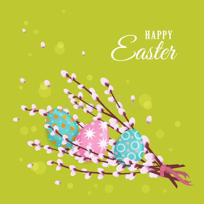 Carte de voeux heureuse de Pâques avec le saule et les oeufs illustration libre de droits