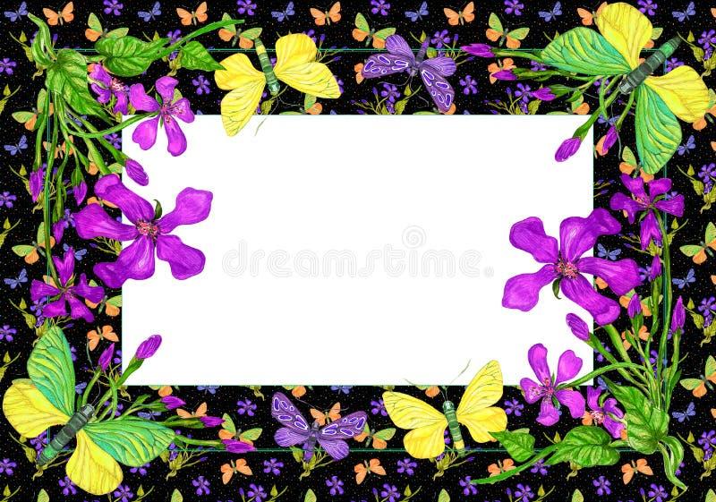 Carte de voeux, invitation avec des papillons et fleurs illustration libre de droits