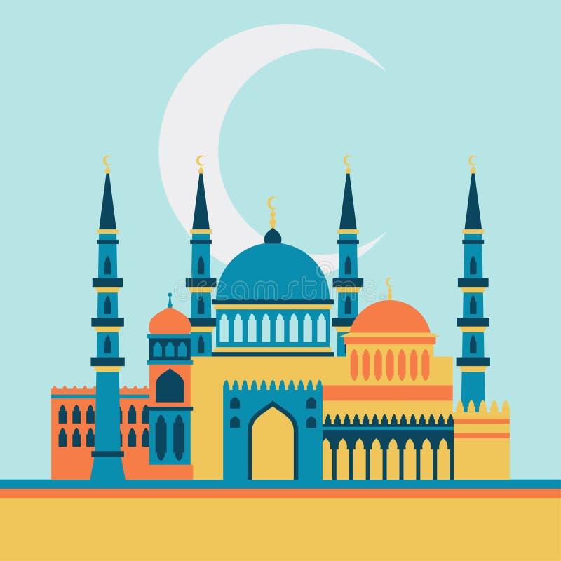 Carte de voeux islamique avec la mosquée dans la conception plate illustration de vecteur
