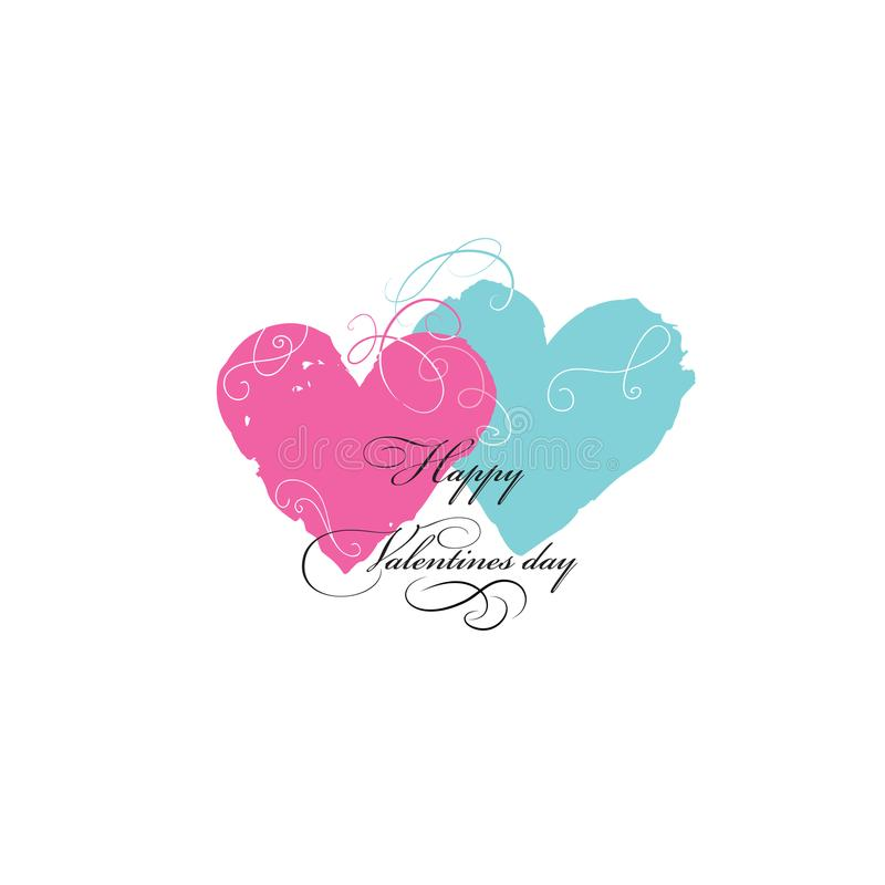 Carte de voeux de jour du ` s de Valentine avec des coeurs et le griffonnage d'amour floraux illustration stock