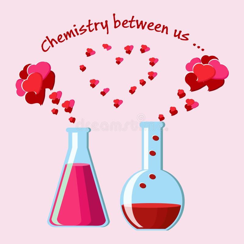 Carte de voeux de jour du ` s de Valentine avec deux flacons chimiques avec des philtres d'amour et des coeurs de évaporation, et illustration de vecteur