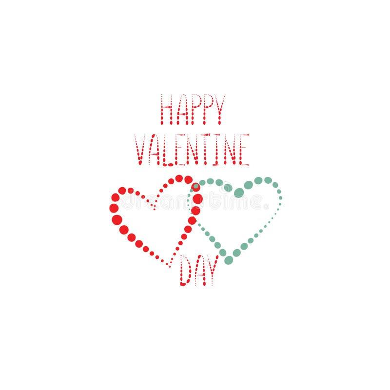 Carte de voeux de jour du ` s de Valentine avec le modèle de coeurs d'amour romantique illustration libre de droits