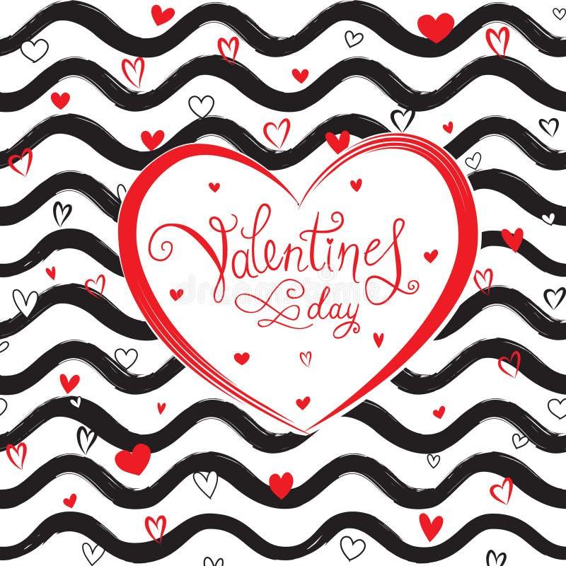 Carte de voeux de jour du ` s de Valentine avec les coeurs d'amour et le modèle de vague illustration libre de droits