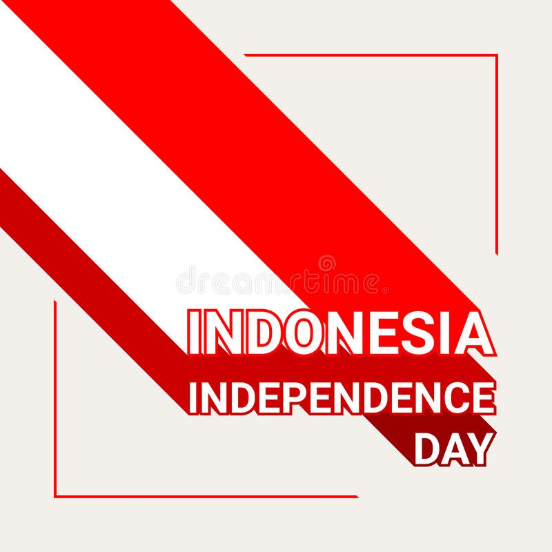Carte de voeux de Jour de la Déclaration d'Indépendance de l'Indonésie avec le drapeau de l'Indonésie illustration de vecteur