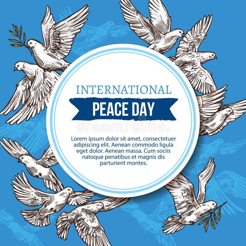 Carte de voeux de jour de paix avec des colombes de croquis en ciel illustration stock