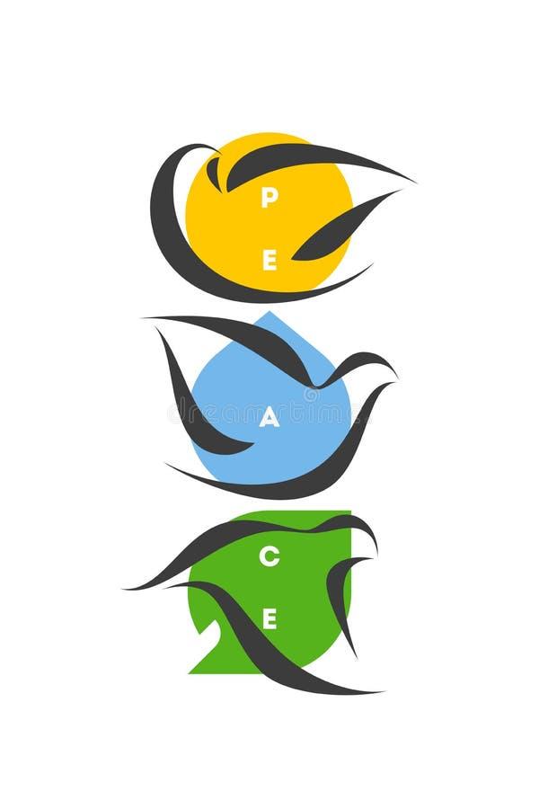 Carte de voeux de jour de paix ou concept écologique avec trois colombes illustration libre de droits