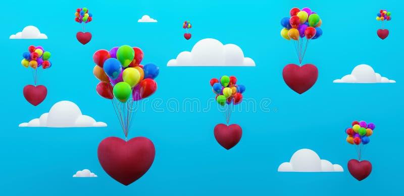 Carte de voeux de jour de valentines avec les coeurs et les ballons colorés 3d de vol rendre illustration libre de droits