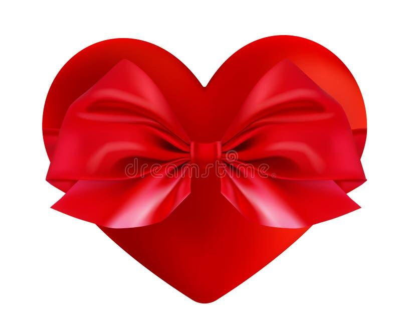 Carte de voeux de jour de Valentines Forme rouge réaliste du coeur 3d Illustration de vecteur de vacances Symbole de boîte-cadeau illustration stock