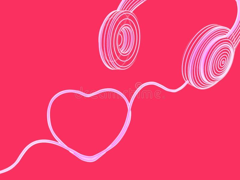 Carte de voeux de jour de valentines : les écouteurs avec le câble sous forme d'entendent illustration stock