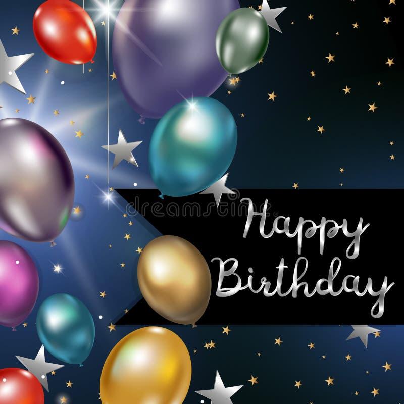 Carte de voeux de joyeux anniversaire avec les ballons et l'argent colorés s illustration libre de droits