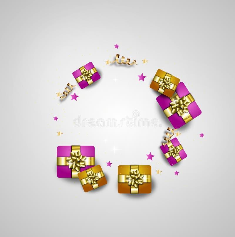 Carte de voeux de joyeux anniversaire décorée des cadeaux illustration de vecteur