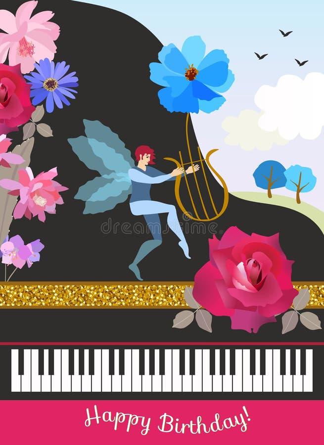 Carte de voeux de joyeux anniversaire dans le style de cru Piano à queue noir, elfe à ailes avec des Lires dans la forme de la fl illustration de vecteur