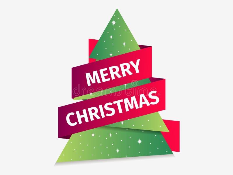 Carte de voeux de Joyeux Noël Arbre de Noël avec la bande Arbre de sapin de papier Vecteur illustration stock