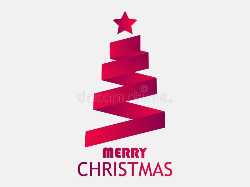 Carte de voeux de Joyeux Noël Arbre de Noël de bande avec l'étoile Rouge de couleur de gradient Vecteur illustration de vecteur