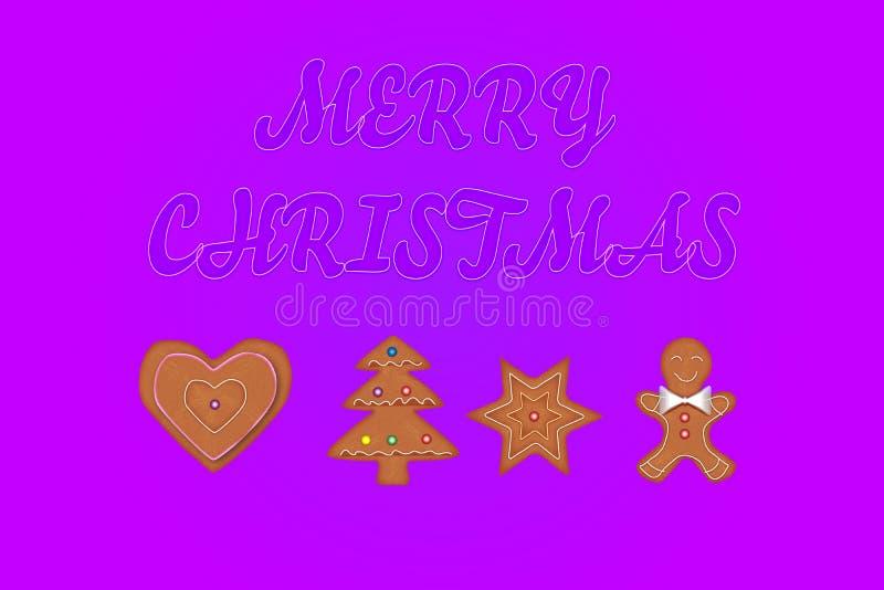 Carte de voeux de Joyeux Noël avec des biscuits de pain d'épice images stock