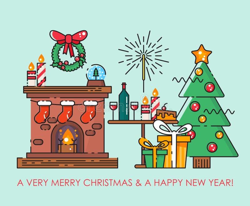 Carte de voeux de Joyeux Noël avec l'arbre de Noël Souhaits d'an neuf heureux Affiche dans la ligne plate style moderne illustration stock