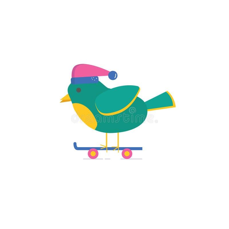 Carte de voeux de Joyeux Noël avec l'oiseau mignon à bord illustration de vecteur